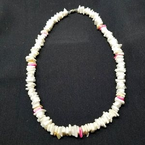 PINK AND WHITE PUKA SHELL NECKLACE